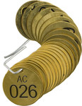 Brady 23273 Black on Brass Circle Brass Numbered Valve Tag with Header Numbered Valve Tag with Header - 1 1/2 in Dia. Width - Print Number(s) = 26 to 50 - B-907