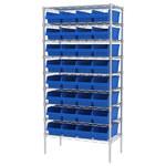 Akro-Mils Shelfmax 2000 lb Adjustable Blue Chrome Steel Open Adjustable Fixed Shelving System - 32 Bins - 2000 lb Total Capacity - AWS183630088 BLUE
