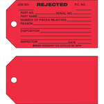 Brady 86781 Black on Red Cardstock Production Status Tag - 5 3/4 in Width - 3 in Height - B-853
