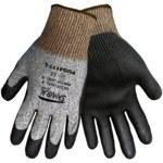 Global Glove Samurai PUG4177 Black/Gray Large HDPE Cut-Resistant Gloves - ANSI 2 Cut Resistance - Polyurethane Palm & Fingers Coating - PUG4177/LG