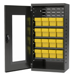 Akro-Mils Akrodrawers 350 lb Charcoal Gray Steel 18 ga Non-Stackable Secure Mini-Cabinet - 13 1/4 in Overall Length - 19 1/4 in Width - 38 in Height - 16 Drawer - Lockable - ACQV4C42 YELLOW