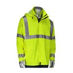 PIP VizAR 355-2500 Lime/Yellow Large Polyester/Cotton Jersey Rain Jacket - 2 Pockets - Rollaway Hood - 616314-21977