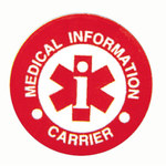 MSA White Medical Information label - Printed Text = Medical Information Carrier - English - 032792-26073
