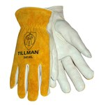 Tillman 1414 Pearl/Yellow Large Grain Cowhide Leather Drivers Glove - Keystone Thumb - 9 in Length - 1414L