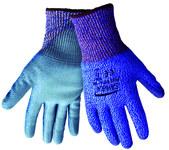 Global Glove Samurai PUG617 Blue/Gray Large HDPE Cut-Resistant Gloves - ANSI 4 Cut Resistance - Polyurethane Palm & Fingers Coating - PUG617/LG