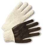 West Chester K708SPC Brown/White Large Cotton/Polyester/PVC General Purpose Gloves - PVC Palm & Fingers Coating - 9.5 in Length