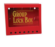 Brady Yellow on Red Steel Combined Lock Storage & Group Lock Box 105714 - 8 in Width - 7 in Height - 7 Padlock Capacity - 754476-03771