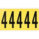 Brady 34 Series 3460-4 Black on Yellow Vinyl Cloth Number Label - Indoor - 1 3/4 in Width - 5 in Height - 3 7/8 in Character Height - B-498