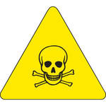 Brady 60183 Black on Yellow Triangle Vinyl Hazardous Material Label - 1/2 in Width - 1/2 in Height - B-946