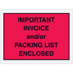 Red Packing List/Invoice Enclosed Envelopes - 4.5 in x 6 in - 2 Mil Poly Thick - SHP-8262