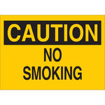 Brady B-120 Fiberglass Reinforced Polyester Rectangle Yellow No Smoking Sign - 20 in Width x 14 in Height - 72285
