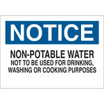 Brady B-555 Aluminum Rectangle White Water Sanitation Sign - 10 in Width x 7 in Height - 40925