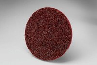 3M Scotch-Brite SC-DS Non-Woven Aluminum Oxide Maroon Surface Conditioning Quick Change Disc - Medium - 3 in Diameter - 13258