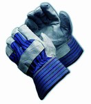 PIP 85-7500 Black/Blue/Gray/Red Large Split Cowhide Leather Work Gloves - Wing Thumb - 10.5 in Length