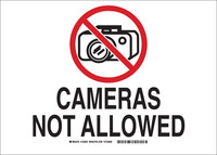 Brady B-555 Aluminum Rectangle White No Camera Sign - 10 in Width x 7 in Height - 132021