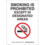Brady B-555 Aluminum Rectangle White No Smoking Sign - 7 in Width x 10 in Height - 123897