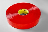 3M Scotch 3199 Clear / Red Printed Box Sealing Tape - Pattern/Text = CHECK SEAL BEFORE ACCEPTING - 48 mm Width x 100 m Length - 2 mil Thick - 58528