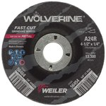 Weiler Aluminum Oxide Surface Grinding Wheel - 24 Grit - Coarse Grade - 4 1/2 in Diameter - 7/8 in Center Hole - 1/4 in Thick - 56464