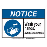 Brady B-869 Rectangle White Sanitation Sign - 10 in Width x 7 in Height - 145748