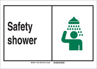 Brady B-302 Polyester Rectangle Shower Station Sign - 14 in Width x 10 in Height - Laminated - 119854