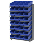Akro-Mils APRS 900 lb Blue Gray Steel 16 ga Single Sided Fixed Rack - 36 3/4 in Overall Length - 32 Bins - Bins Included - APRS18088 BLUE