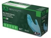 Ammex X3 Blue XL Powder Free Disposable Gloves - Industrial Grade - Textured Finish - X348100