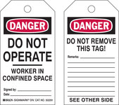 Brady 50291 Black / Red on White Polyester / Paper Worker in Confined Space Confined Space Tag - 3 in Width - 5 3/4 in Height - B-837