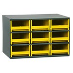Akro-Mils 19 Gray Steel 24 ga Stackable Heavy Duty Versatile Cabinet - 11 in Overall Length - 17 in Width - 11 in Height - 9 Drawer - Non-Lockable - 19909 YELLOW DRAWER
