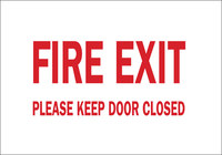Brady B-401 High Impact Polystyrene Rectangle White Fire Exit Sign - 10 in Width x 7 in Height - 22496