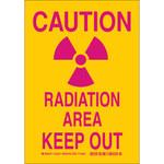 Brady B-555 Aluminum Rectangle Yellow Radiation Hazard Sign - 7 in Width x 10 in Height - 124229