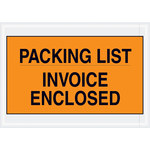 Orange Packing List/Invoice Enclosed Envelopes - 7 in x 10 in - 2 Mil Poly Thick - SHP-8263