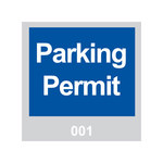 Brady 95199 Blue / White on Gray Square Vinyl Parking Permit Label - 3 in Width - 3 in Height - Print Number(s) = 001 to 100
