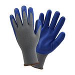 West Chester 37185 Gray/Blue Large Polyester Work Gloves - Nitrile Palm & Fingers Coating - 37185/L5P