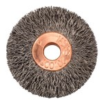 Weiler Steel Wheel Brush 0.0104 in Bristle Diameter - Arbor Attachment - 1 3/8 in Outside Diameter - 1/4 in Center Hole Size - 15151