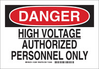 Brady B-555 Aluminum Rectangle White Electrical Safety Sign - 10 in Width x 7 in Height - 123695