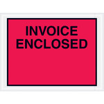 Red Invoice Enclosed Envelopes - 4.5 in x 6 in - 2 Mil Poly Thick - SHP-8268