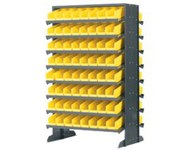 Akro-Mils 800 lbs Yellow Gray Steel Double Sided Louvered Floor Rack - 24 in Overall Length - 36 in Width - 60 in Height - 64 x 30150 Bins - APRD150Y