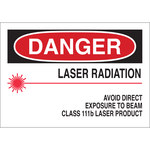 Brady B-555 Aluminum Rectangle White Laser Hazard Sign - 10 in Width x 7 in Height - 42835