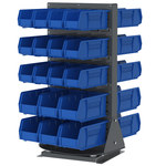 Akro-Mils Blue / Gray Rotary Rack - 23 in Overall Length - 18 1/2 in Width - 34 1/5 in Height - 98318GY2430BLU