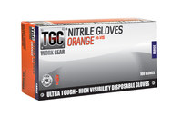 TGC WorkGear Hi-Vis Orange Nitrile Disposable Glove - Large - 160033