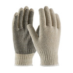 PIP 37-C110PD Black/White Large Cotton/Polyester General Purpose Gloves - PVC Dotted Palm & Fingers Coating - 10 in Length - 37-C110PD/L