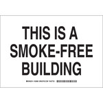 Brady B-555 Aluminum Rectangle White No Smoking Sign - 10 in Width x 7 in Height - 128094