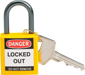 Brady Yellow Nylon Aluminum 5-pin Keyed & Safety Padlock 143158 - 1 1/5 in Width - 1 2/5 in Height - 1/5 in Shackle Diameter - 1 Key(s) Included - 754473-20830
