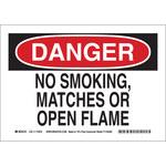 Brady B-563 High Density Polypropylene Rectangle White No Smoking Sign - 10 in Width x 7 in Height - 116140