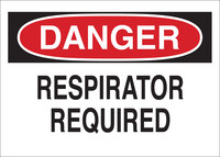 Brady B-302 Polyester Rectangle White Respirator Sign - 10 in Width x 7 in Height - Laminated - 88617