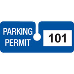 Brady Blue Vinyl Pre-Printed Vehicle Hang Tag 96280 - Printed Text = PARKING PERMIT - 4 3/4 in Width - 2 in Height - 754476-96280