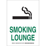 Brady B-555 Aluminum Rectangle White Smoking Area Sign - 7 in Width x 10 in Height - 128064