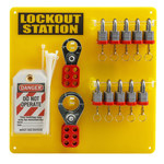 Brady Black/Yellow Acrylic Lockout Device Station - 13.5 in Width - 13.5 in Height - 754476-51188