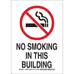 Brady B-401 Polystyrene Rectangle White No Smoking Sign - 10 in Width x 14 in Height - 128002