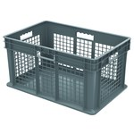 Akro-Mils 8.32 gal Gray Industrial Grade Polymer Straight Wall Container - 23 3/4 in Length - 15 3/4 in Width - 12 1/4 in Height - Mesh Side Wall - 125 lb 45 lb Stacked Capacity - 37672 GREY